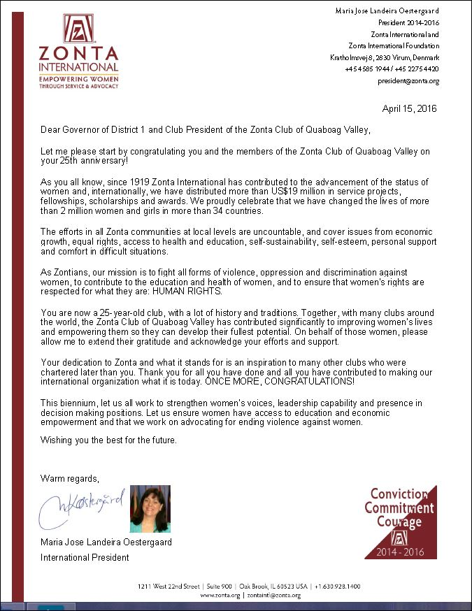 25th anniversary letter from ZI PRESIDENT