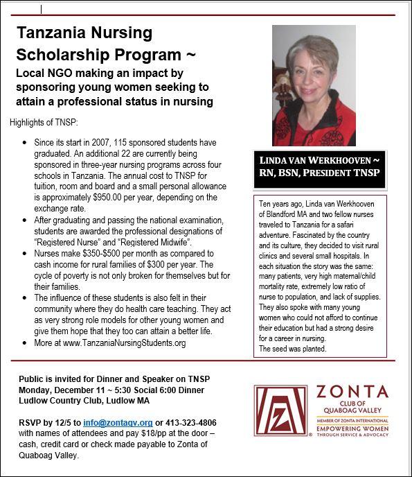 December 11 Tanzania Nursing Scholarship Program @ Ludlow Country Club | Ludlow | Massachusetts | United States
